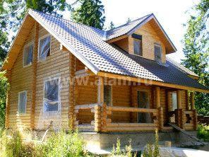 Дом из оцилиндрованного бревна, выполнен по проекту ОБ-22