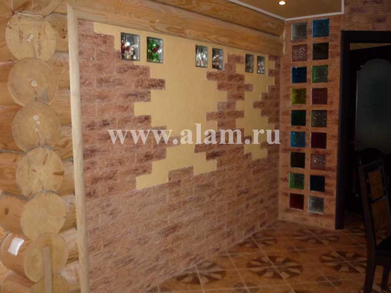Отделка деревянного дома. Дизайн стены