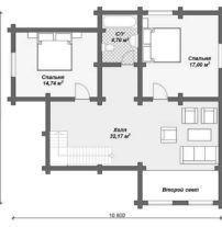 Дом из оцилиндрованного бревна ОБ-2