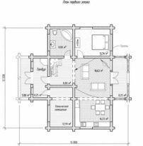 Дом из оцилиндрованного бревна ОБ-25