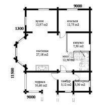 Дом из оцилиндрованного бревна ОБ-77