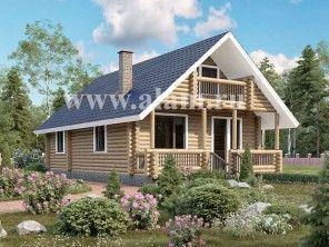 Деревянный дом с двумя входами из бревна ОБ-14