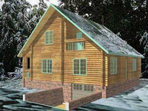 Дом из оцилиндрованного бревна ОБ-27
