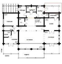 Дом из оцилиндрованного бревна ОБ-45