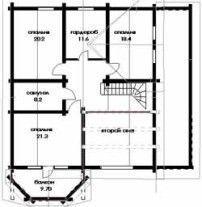 Дом из оцилиндрованного бревна ОБ-51