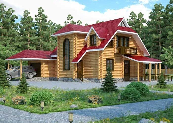 Дом из оцилиндрованного бревна ОБ-15