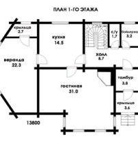 Дом из профилированного бруса ПБ-72