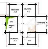 Просторный бревенчатый загородный особняк ОБ-57