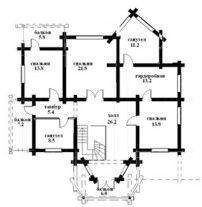Дом из оцилиндрованного бревна ОБ-62