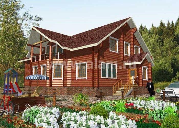 Дом из оцилиндрованного бревна ОБ-75