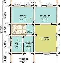 Дом из оцилиндрованного бревна ОБ-79