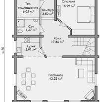 Дом из оцилиндрованного бревна ОБ-104