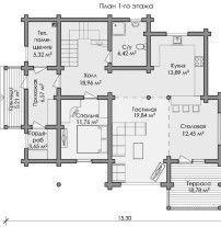 Дом из оцилиндрованного бревна ОБ-105