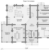 Дом из оцилиндрованного бревна ОБ-107