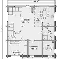 Дом из оцилиндрованного бревна ОБ-108