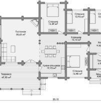 Дом из оцилиндрованного бревна ОБ-110