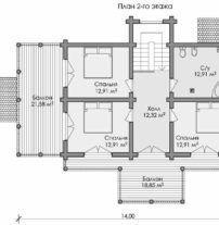 Дом из оцилиндрованного бревна ОБ-111