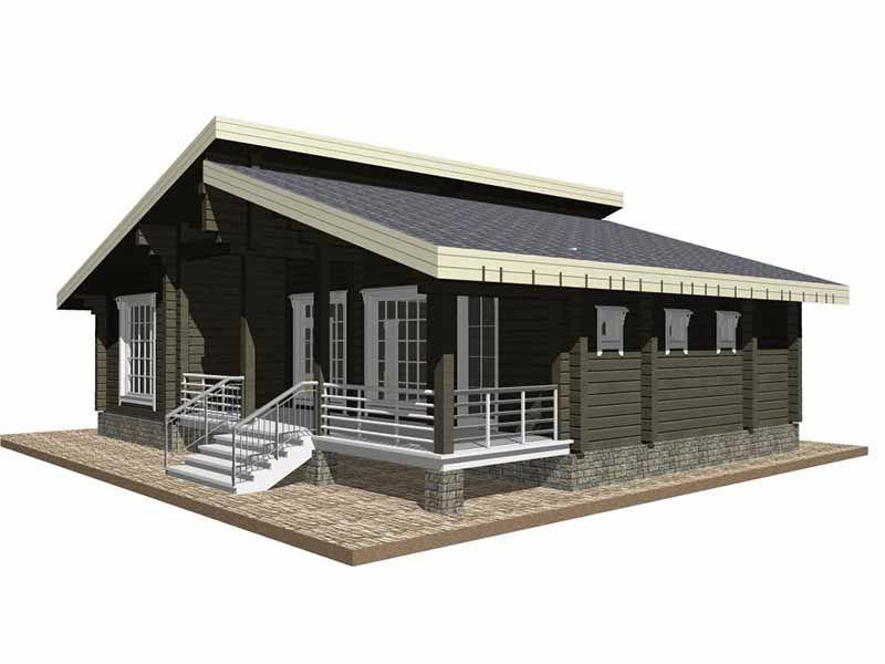 Одноэтажный дом из бруса. Дом-шале