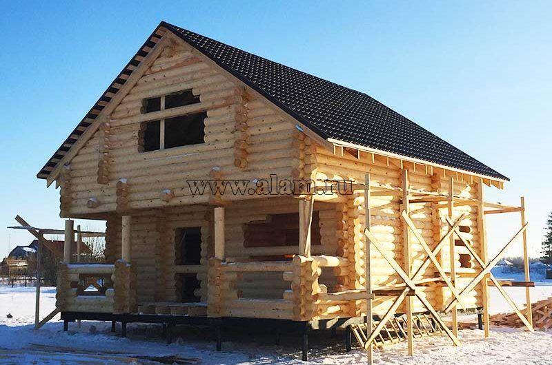 Недорогой дом из оцилиндрованного бревна на свайном фундаменте ob-85