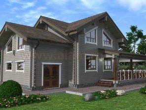 Большой дом из бруса с гаражом ПБ-86