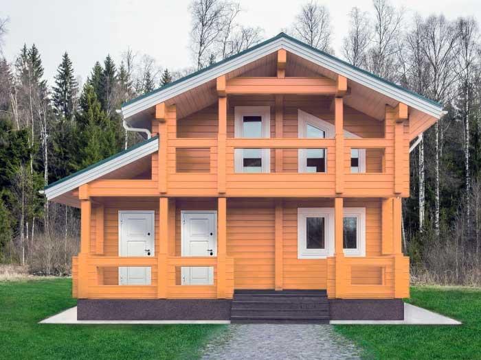 Красивый небольшой дом брусовой