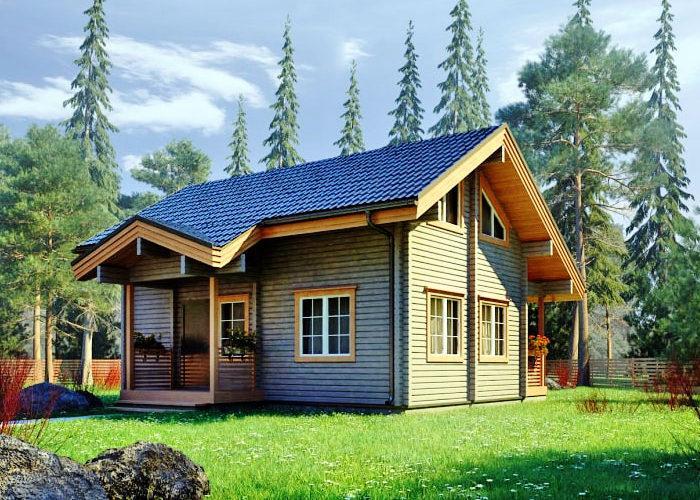 Небольшой брусовой дом с террасой ПБ-103