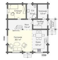 Брусовой в два этажа с балконом ПБ-108