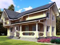 Проект дома из бревна с террасой и балконом ОБ-83