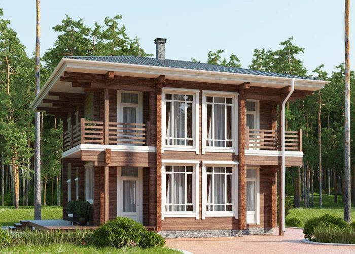 Двухэтажный деревянный дом из бруса ПБ-114
